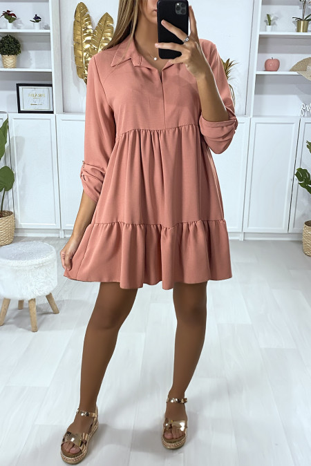Pink ruffle tunic dress with shirt collar and 3/4 sleeve