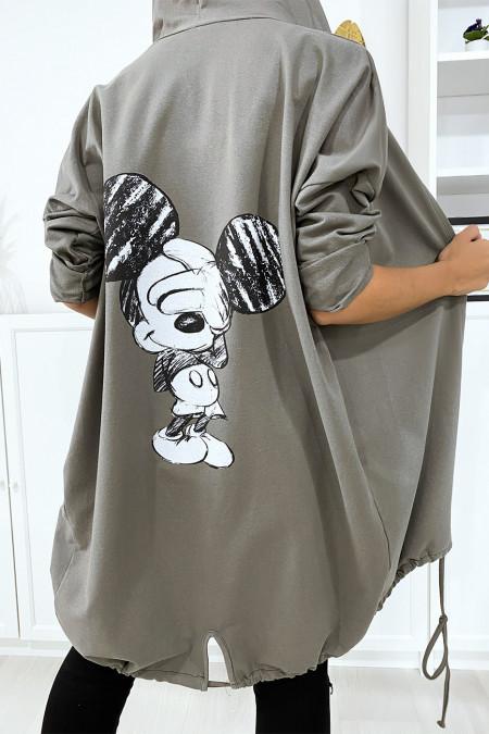 Gilet kaki à capuche et poches en coton gratté avec dessin au dos