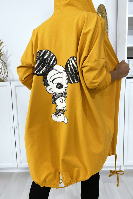 Mustard cardigan with hood and pockets in brushed cotton with design on the back