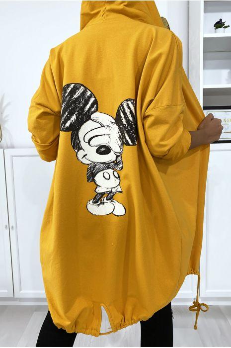 Gilet moutarde à capuche et poches en coton gratté avec dessin au dos