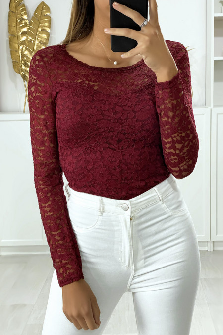Long-sleeved burgundy lined lace bodysuit