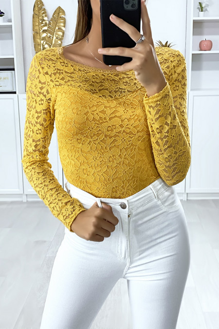 Long-sleeved mustard lined lace bodysuit
