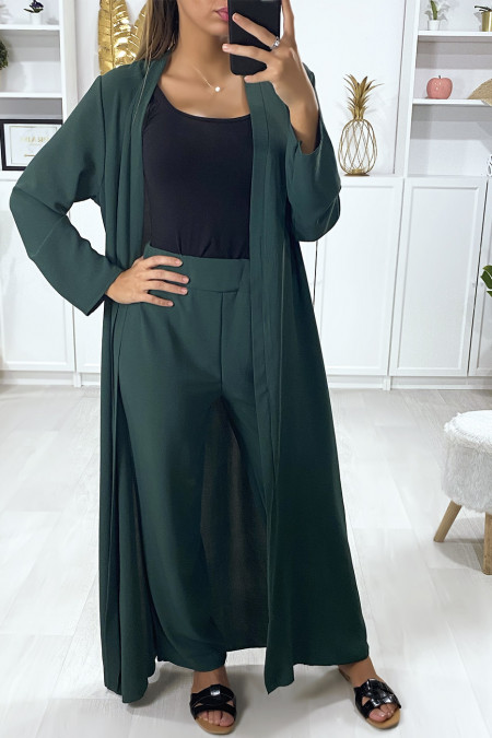 Long waistcoat set with belt and green palazzo pants