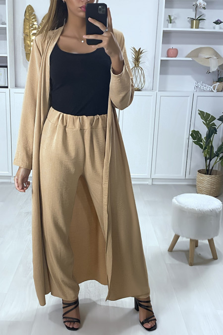 Long waistcoat set with belt and camel palazzo pants