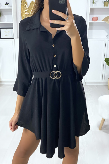 Black tunic dress with buckle belt and buttoned shirt collar
