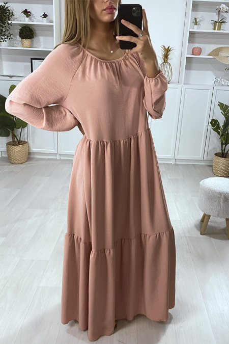 Long pink flared dress with flounce