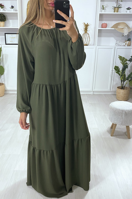 Long khaki flared dress with flounce
