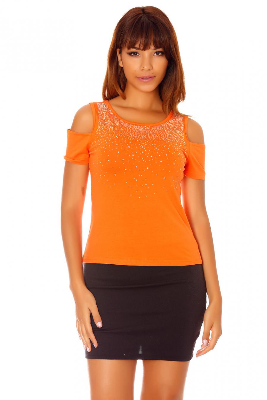Orange rhinestone top with bare shoulders. F227