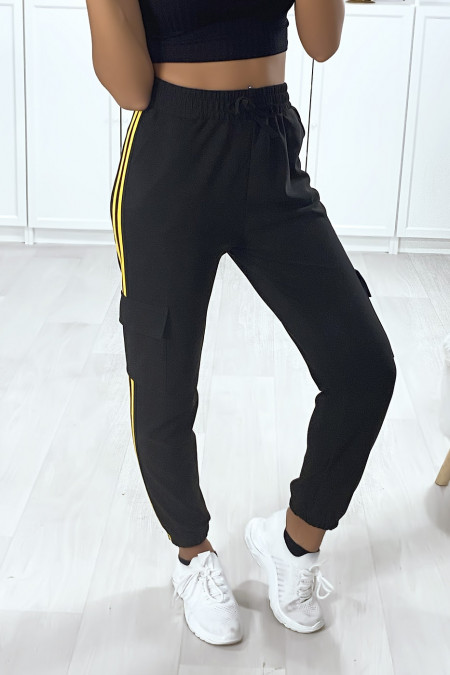 Black jogging with yellow bands and side pockets