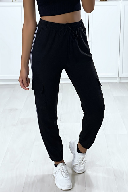 Black jogging with gray bands and side pockets