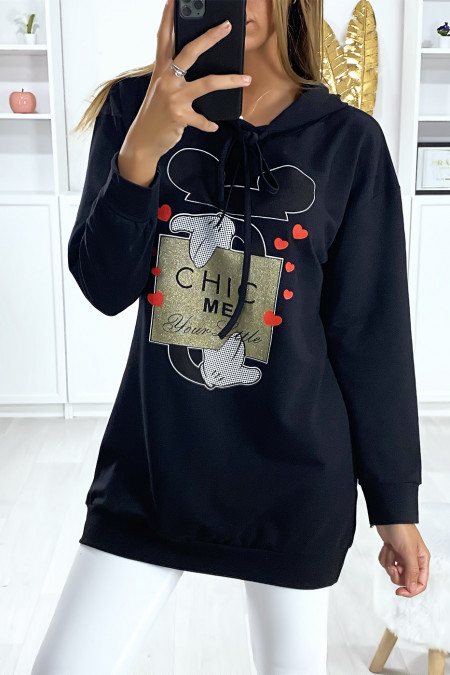 Long black hoodie with Chic Me design and writing