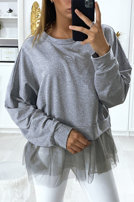 Oversized sweatshirt in heather gray with tulle ruffle at the waist