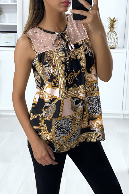 Big brand patterned blouse with pearl pink chiffon bust