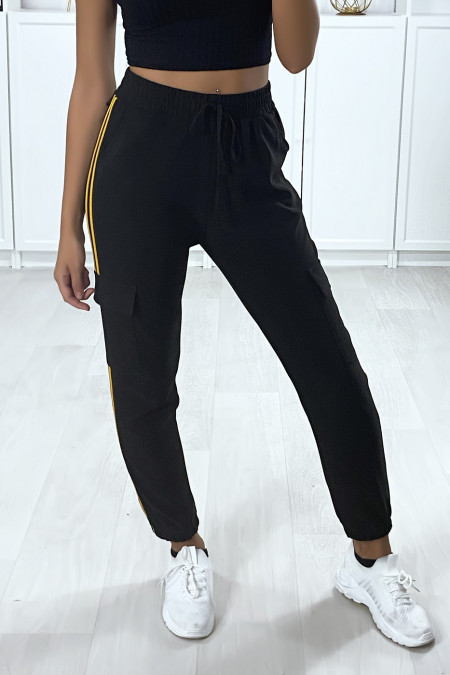 Black jogging with mustard bands and side pockets