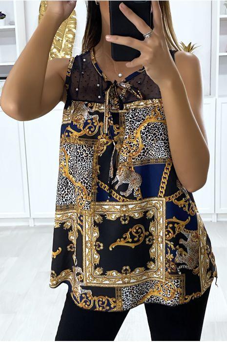 Blouse à motif grande marque avec buste en mousseline marine à perle