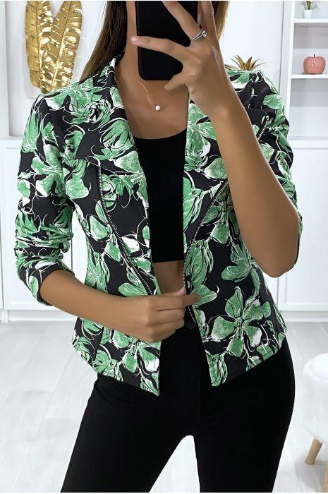 Blazer à motif noir et vert en coton gratté avec fermeture