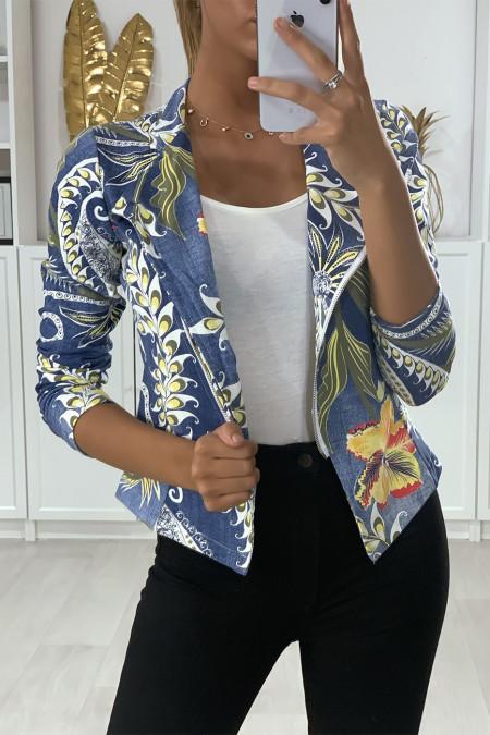 Blazer van geborsteld katoen met blauwe jeanspatroon en sluiting