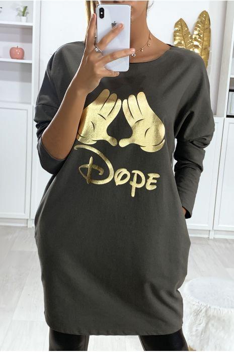 Robe tunique kaki en coton gratté avec dessin et écriture DOPE en doré