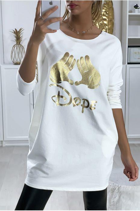 Robe tunique blanche en coton gratté avec dessin et écriture DOPE en doré