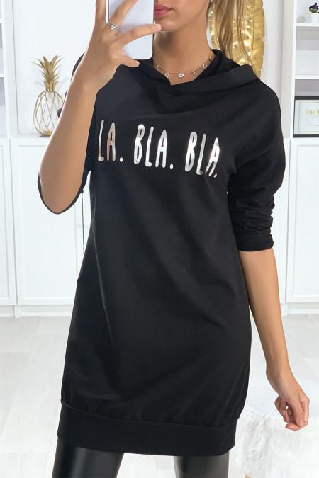 Long sweat à capuche noir avec écriture BLA BLA BLA en argenté