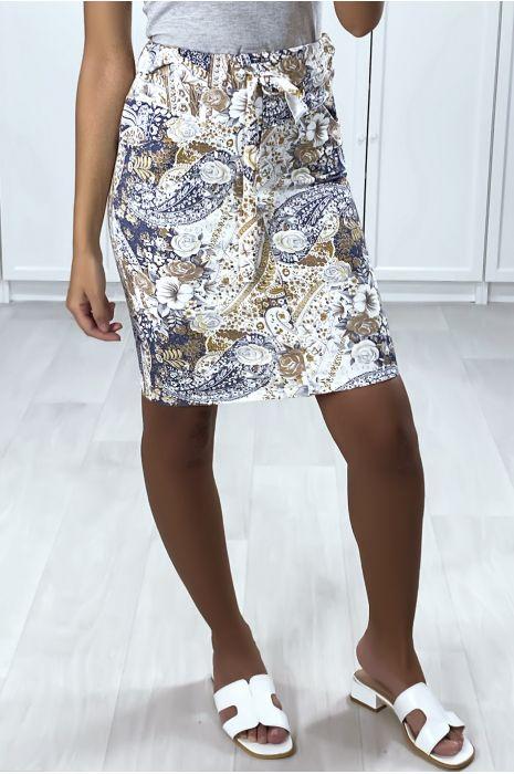 Jupe en coton gratté motif fleuris blanc et bleu avec poches