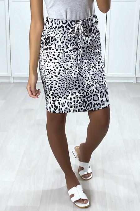 Jupe en coton gratté motif léopard noir et gris avec poches