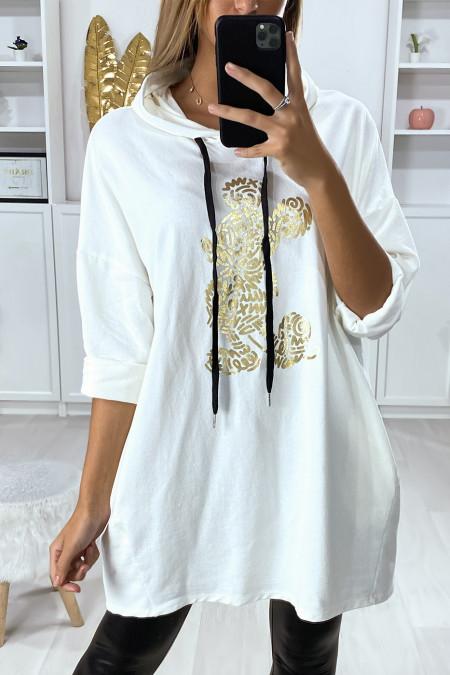 Tunique sweat over size en blanc avec capuche poches et dessin doré