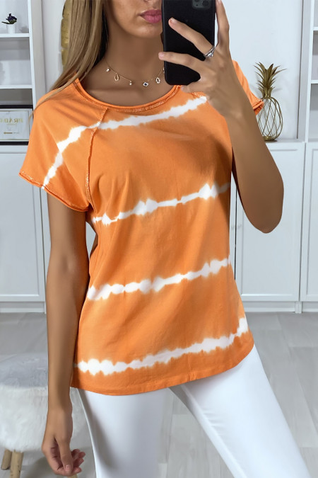 T-shirt orange tie dye pattern with silver thread