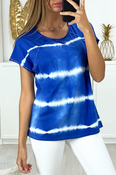 T-shirt royal tie dye pattern with silver thread