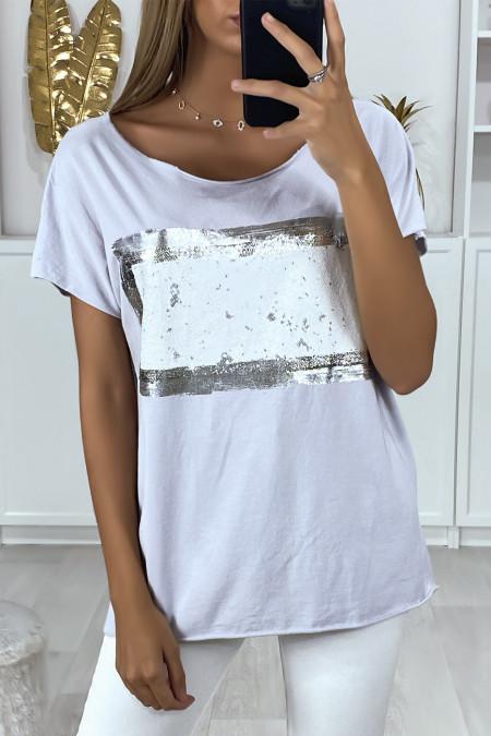 Tee shirt gris avec dessin argenté et pailleté