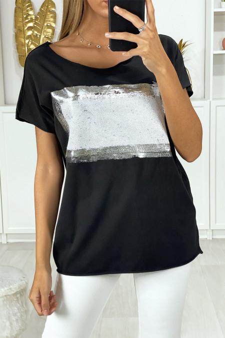 Tee shirt noir avec dessin argenté et pailleté