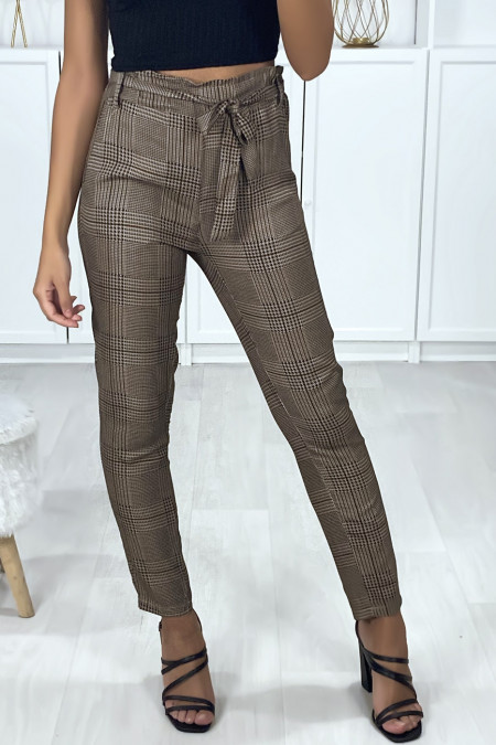 Camel and black checked cigarette pants with pockets and belt