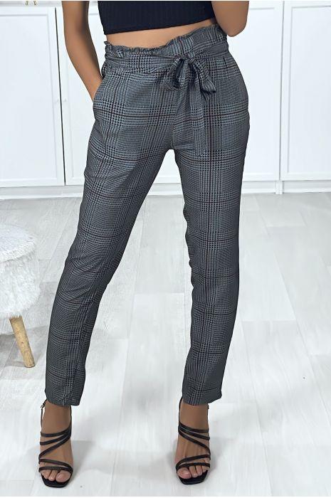 Pantalon cigarette à carreaux anthracite et noir avec poches et ceinture