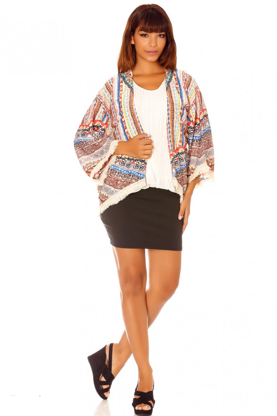 Veste Kimono multicolore fluide à motifs ethniques et franges F5577