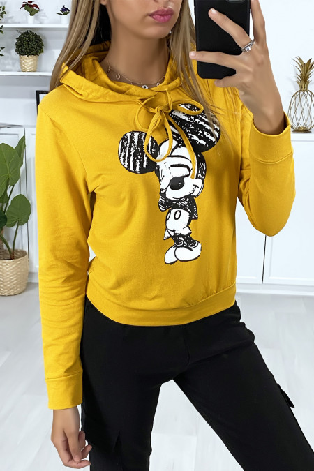 Mustard hoodie with design on the front