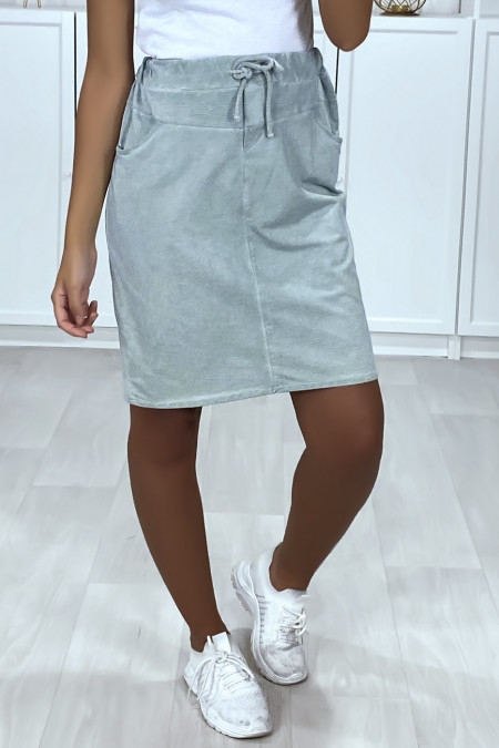 Very sporty blue skirt in faded cotton with pockets and lace