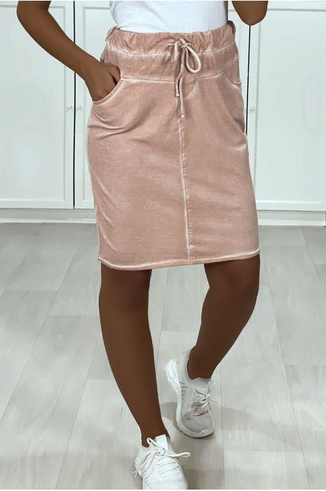 Jupe rose en coton délavé très sportive avec poches et lacet