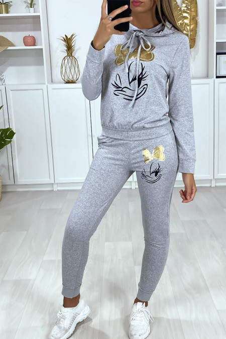 Gray jogging set with hood and pockets with design and gold butterfly on the front