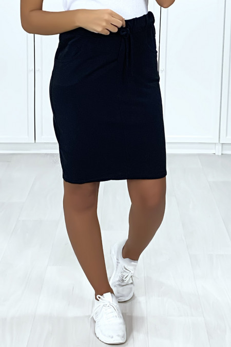 Very sporty black skirt in washed cotton with pockets and lace