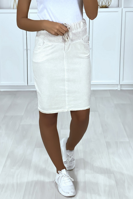 Very sporty faded cotton beige skirt with pockets and lace