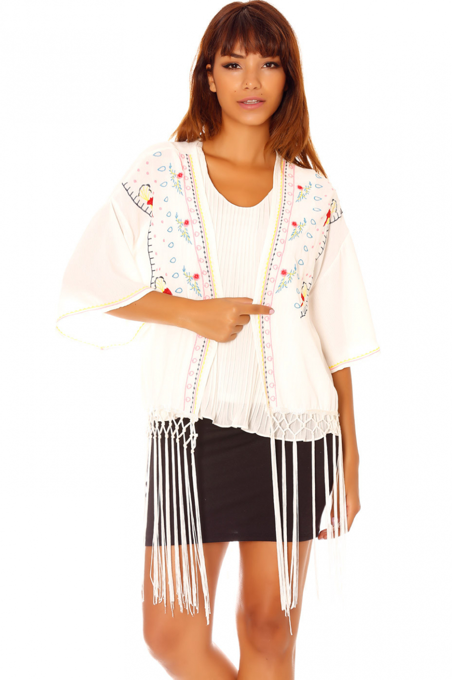 White Kimono Jacket with Embroidery and Fringes C902
