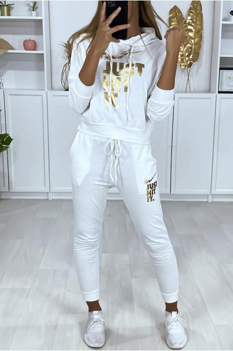 Joggingbroek met capuchon en zakken in wit met gouden letters en afgeleid ontwerp