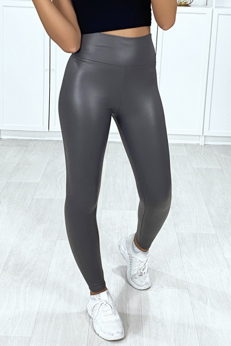 Very fashionable anthracite faux leggings