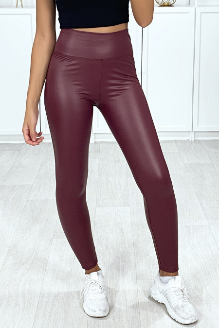 Very fashionable burgundy faux leggings