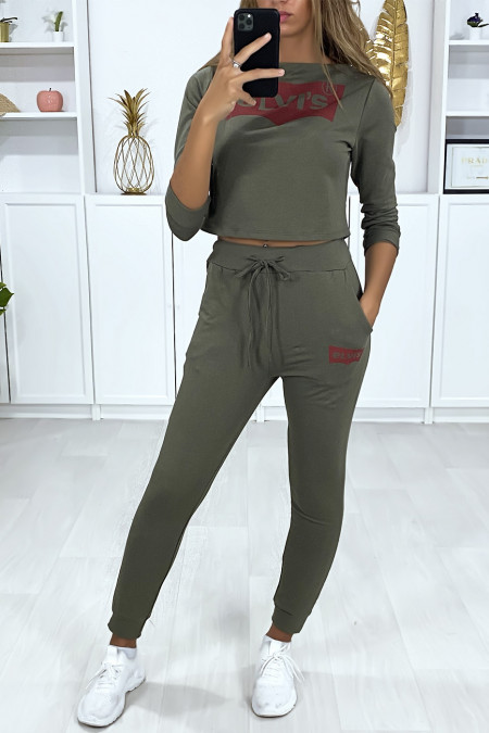 Khaki set with jogging pockets and short sweatshirt with derivative writing