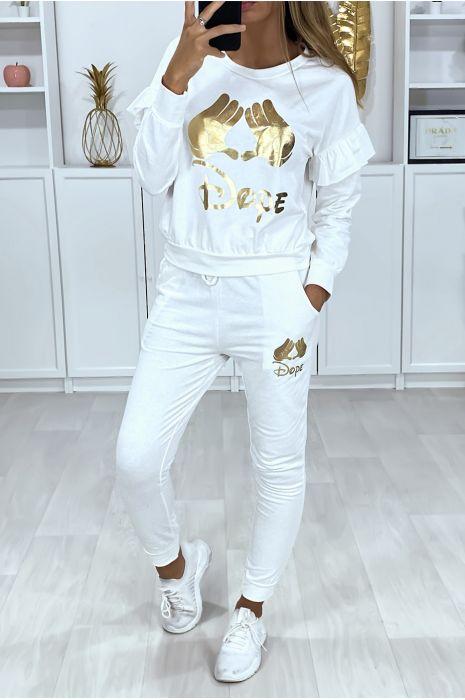 Ensemble blanc avec poches au jogging et écriture motif doré au sweat