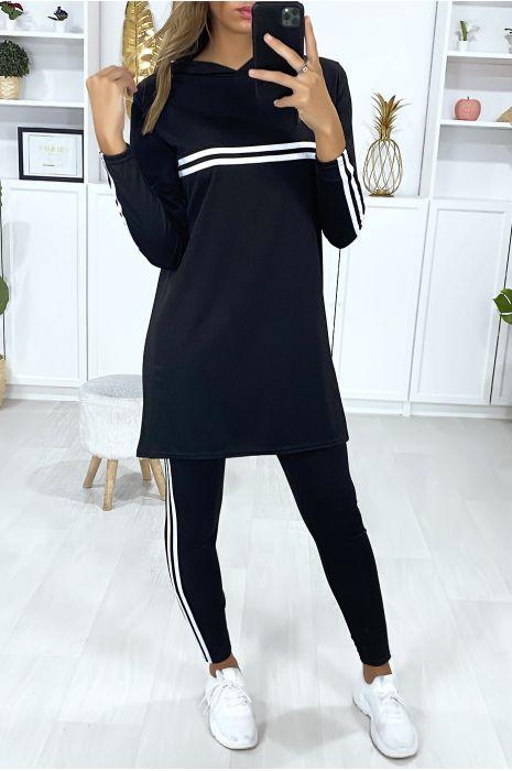 Ensemble tunique et leggings noir avec bandes blanche