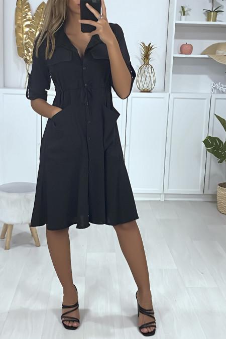 Robe chemise boutonnés avec poches et ajustable à la taille