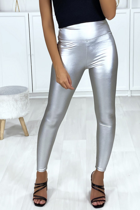 Very fashionable silver faux leggings