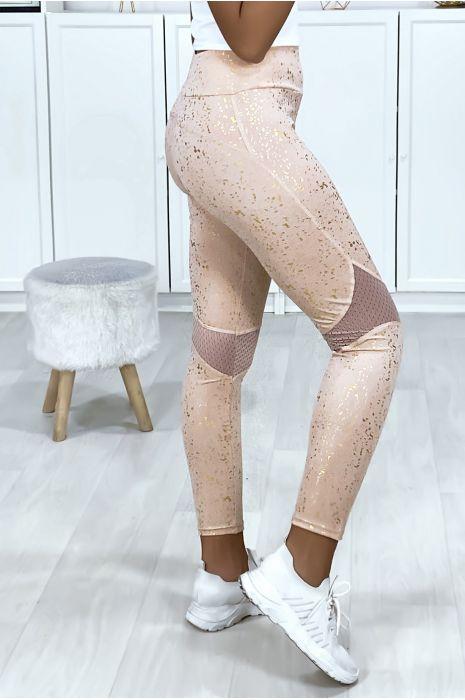 Legging rose style push up très sportive avec taches gold et filet aux genoux